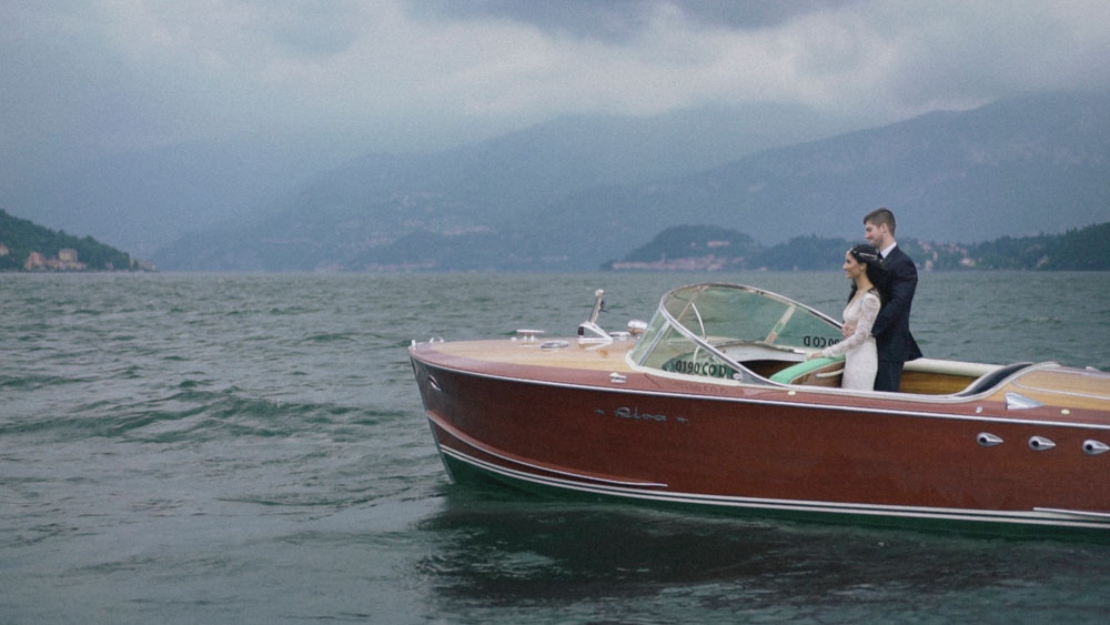 romantic wedding lake como balbianello riva speed boat
