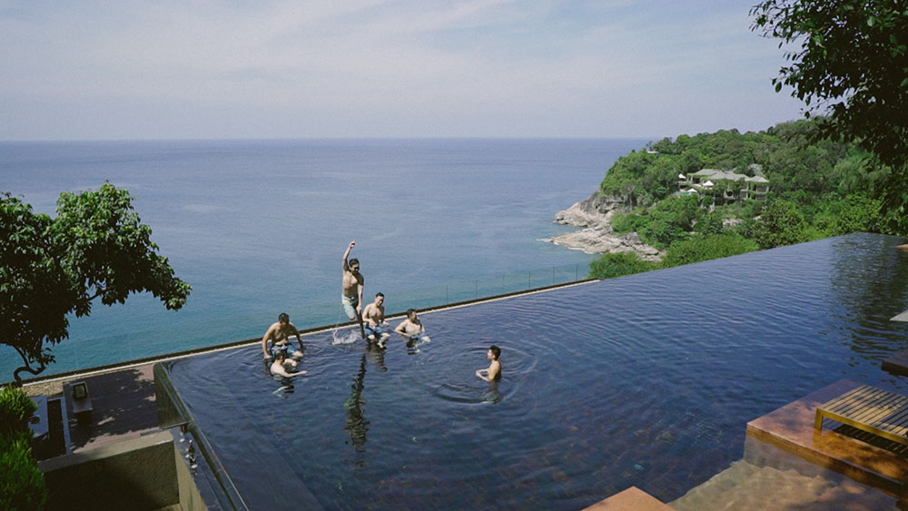 groomsmen pool games wedding paresa resort phuket