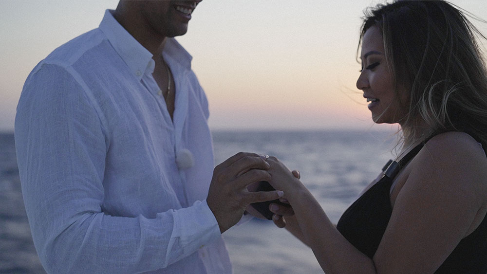 she said yes in greece mikonos santorini engagement boat