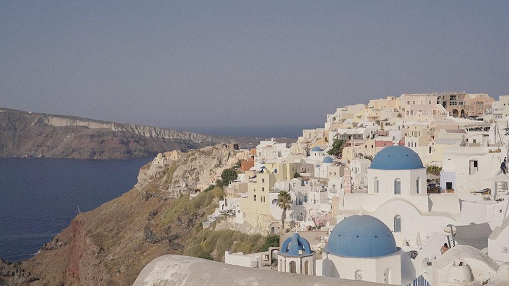 oia santorini greece wedding engagement videographer