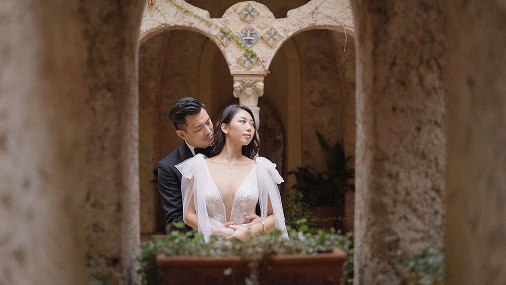 villa cimbrone cript ravello bride groom wedding photography videography