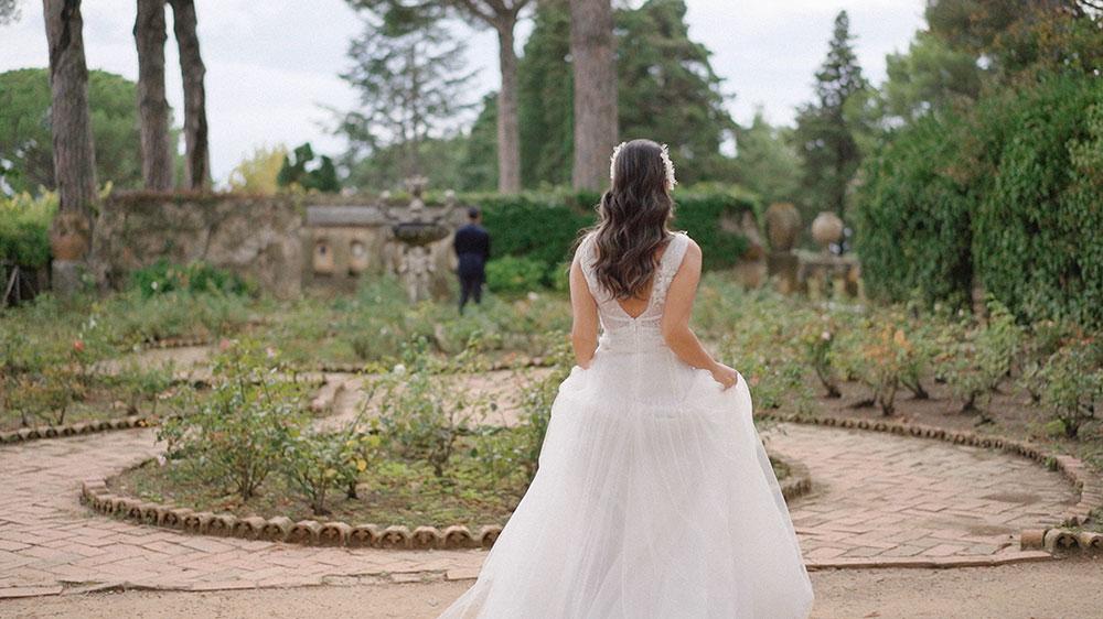 first look villa cimbrone ravello destination wedding videographer italy